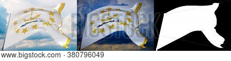 Flags Of The States Of Usa. State Of Rhode Island Flag. 3d Illustration. Set Of 2 Flags And Alpha Ma