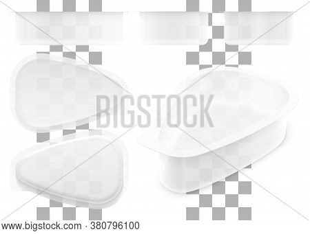 Vector Drop Shape Transparent Plastic Container For Cottage Cheese, Jelly, Sour Cream Or Yoghurt. Se