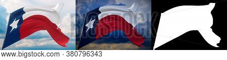 Flags Of The States Of Usa. State Of Texas Flag. 3d Illustration. Set Of 2 Flags And Alpha Matte Ima