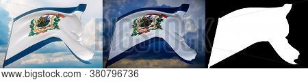 Flags Of The States Of Usa. State Of West Virginia Flag. 3d Illustration. Set Of 2 Flags And Alpha M