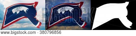 Flags Of The States Of Usa. State Of Wyoming Flag. 3d Illustration. Set Of 2 Flags And Alpha Matte I