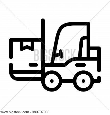 Warehouse Loader With Box Line Icon Vector Illustration