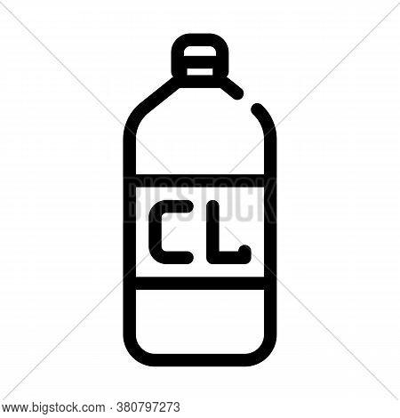 Chlorine Bottle Line Icon Vector Isolated Illustration