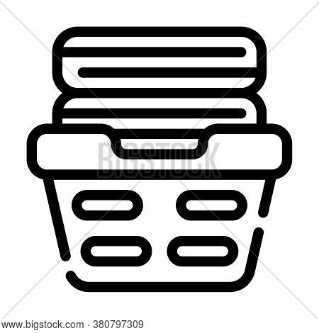 Washed Clean Clothes In Basket Line Icon Vector Illustration