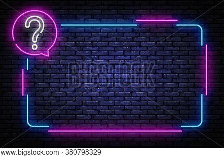 Neon Quiz Sign Vector Design Template. Quiz Neon Frame, Light Banner Design Element Colorful Modern
