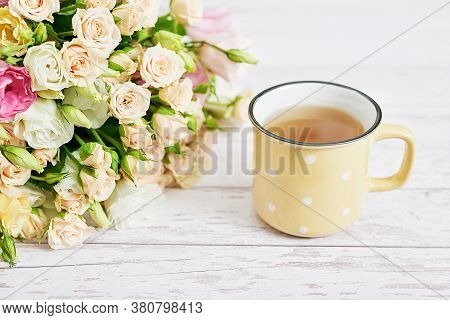 Cozy Morning. Mothers Day Greeting Flower Card. Bouquet Of Flowers And Cup Of Tea. Good Morning. Cre