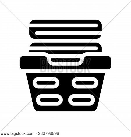 Washed Clean Clothes In Basket Glyph Icon Vector Illustration