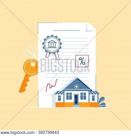 Mortgage Contract Concept. Signing Paper Agreement, Document With House Keys, Bank Stamp, Mortgage R