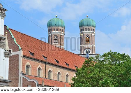 A View Of Towers Of The Churche Frauenkirche In Munich