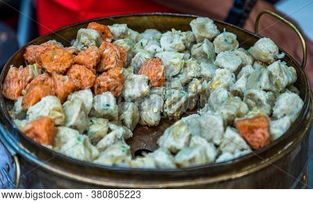 'shumai' (shaomai) Or Kanom Jeeb' A 'dim Sum' Chinese Traditional Steamed Dumplings Food With Shrimp