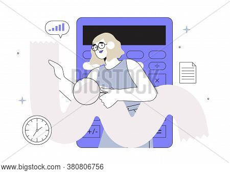 Vector Illustration Of A Girl Looking Through Magnifying Glass At A Long Bill Or Sales Check. Online