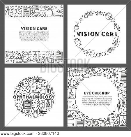 Set Of Cards With Lettering And Doodle Outline Ophthalmology Icons Including Runny Eye, Pipette Bott