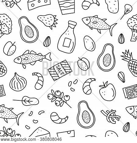 Black And White Seamless Pattern With Doodle Outline Iodine Food Sources Including Cod, Tuna Fish, S