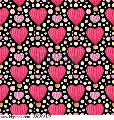 Watercolor Hand Drawn Seamless Pattern With Pink Red Hot Air Baloon, Heart And Candies. Holiday Back