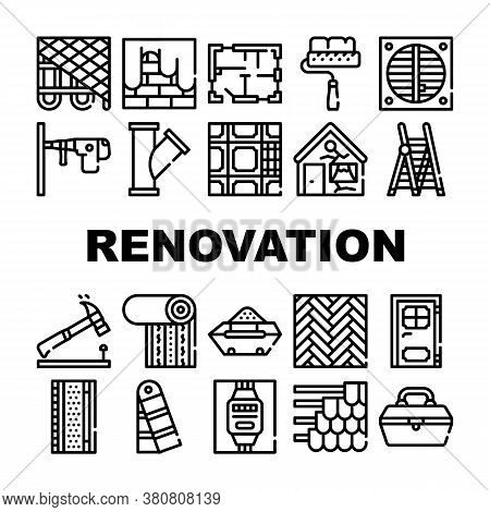 Renovation Home Repair Collection Icons Set Vector