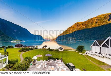 View On Beautiful Sognefjord In The Early Morning From A Hotel In Skjolden Sogn Og Fjordane County I