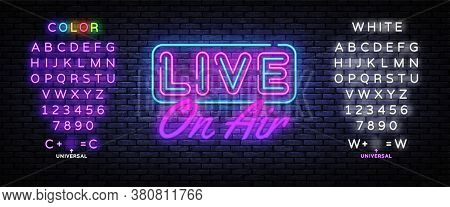 Live On Air Neon Text Vector. Radio On Air Neon Sign, Design Template, Modern Trend Design, Night Si