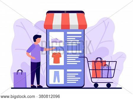 Retail, Shop To Online. Smartphone App For Shopping Goods. Man Makes Purchases Via Phone Online, Cho