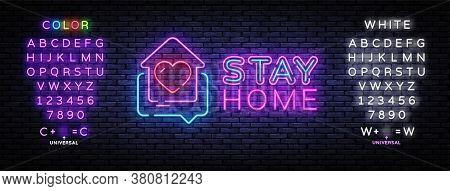 Stay Home Neon Sign. Quarantine Coronavirus Epidemic Illustration For Social Media, Stay Home. Heart