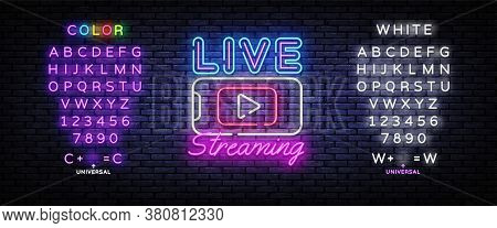 Live Streaming Only Neon Text Vector Design Template. Live Video Neon Sign, Light Banner, Design Ele
