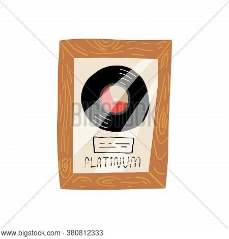 Collectible Vinyl Record In A Frame Under Glass, With A Label And The Lettering Platinum.cute Musica