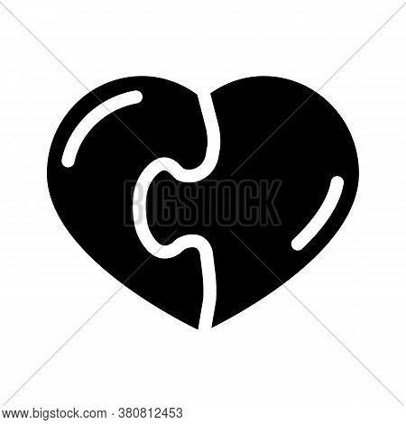 Heart Found Soul Mate Glyph Icon Vector Illustration