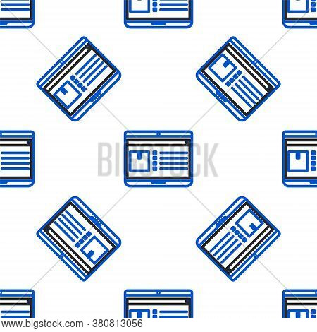 Line Laptop With App Delivery Tracking Icon Isolated Seamless Pattern On White Background. Parcel Tr
