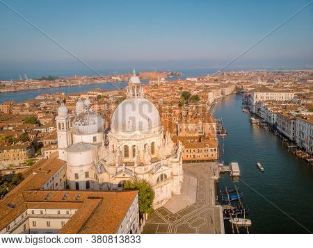 Venice From Above With Drone, Aerial Drone Photo Of Iconic And Unique Saint Marks Square Or Piazza S