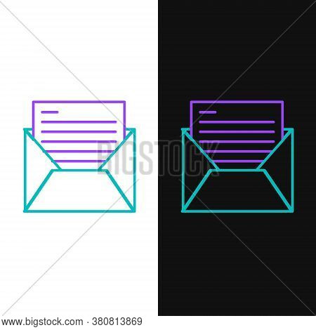 Line Mail And E-mail Icon Isolated On White And Black Background. Envelope Symbol E-mail. Email Mess