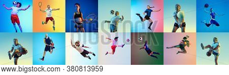 Sport Collage Of Professional Athletes Or Players, Sportsmen On Multicolored Background In Neon. Mad