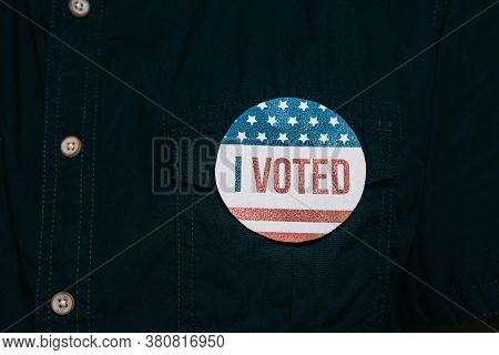 Anonymous Man With Election Campaign Vote Pin