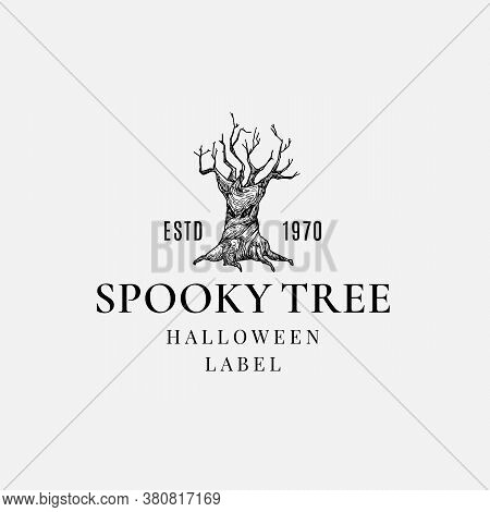 Premium Quality Halloween Logo Or Label Template. Hand Drawn Spooky Tree With Evil Face Sketch Symbo