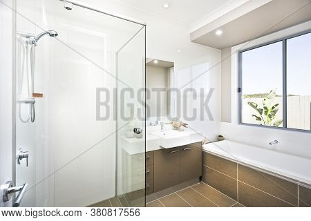 A Bright Bathroom In New Luxury Home