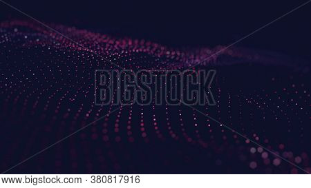 Abstract Wave Colorful Background With Connecting Dots And Lines. Connection Structure. Science Back