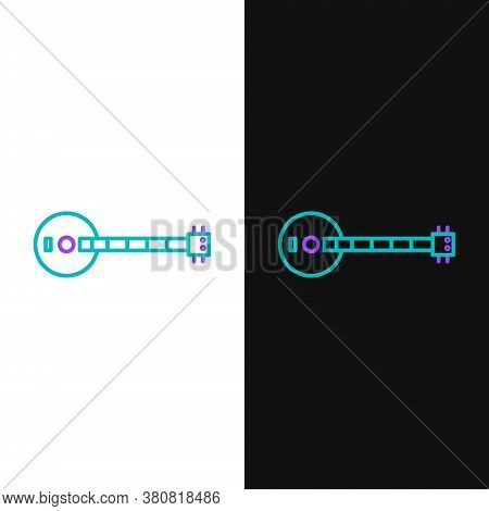 Line Banjo Icon Isolated On White And Black Background. Musical Instrument. Colorful Outline Concept