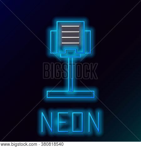 Glowing Neon Line Music Stand Icon Isolated On Black Background. Musical Equipment. Colorful Outline
