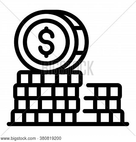 Coin Stack Fund Icon. Outline Coin Stack Fund Vector Icon For Web Design Isolated On White Backgroun