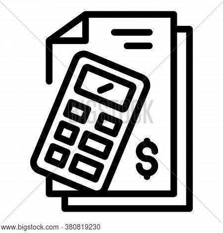 Pension Money Calculator Icon. Outline Pension Money Calculator Vector Icon For Web Design Isolated