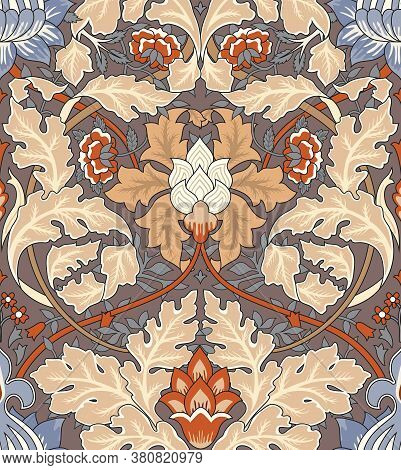 Vintage Flowers And Foliage Seamless Ornament On Light Background. Middle Ages Style William Morris.