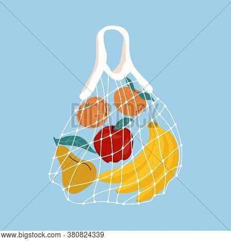 Fruit In A Mesh Bag. A Variety Of Fresh Tropical Fruits In A Reusable Eco Bag. Vector Stock Illustra