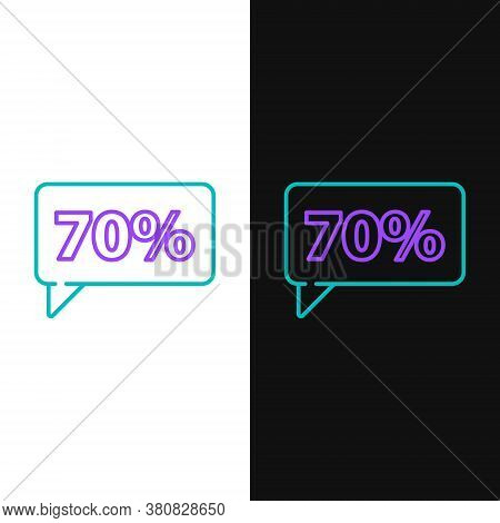 Line Seventy Discount Percent Tag Icon Isolated On White And Black Background. Shopping Tag Sign. Sp