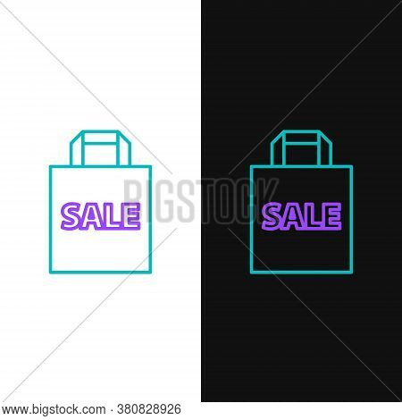 Line Shoping Bag With An Inscription Sale Icon Isolated On White And Black Background. Handbag Sign.