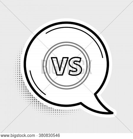 Line Vs Versus Battle Icon Isolated On Grey Background. Competition Vs Match Game, Martial Battle Vs