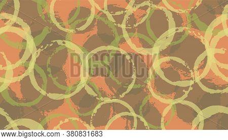 Unique Watercolor Circle Stamps Textile Print. Round Shape Splotch Overlapping Elements Vector Seaml