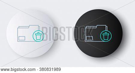 Line Delete Folder Icon Isolated On Grey Background. Delete Or Error Folder. Close Computer Informat