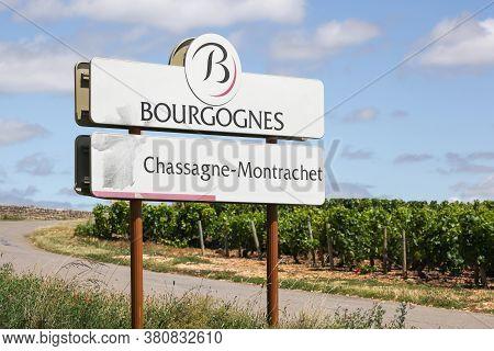 Chassagne-montrachet, France - July 5, 2020: Road Sign Chassagne-montrachet, Wine Of Burgundy, Franc