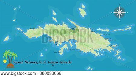 Saint Thomas, U. S. Virgin Island. Realistic Satellite Background Map With Designation Of Beaches, P