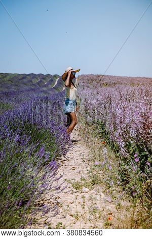 Woman On Vacation At The Provence Lavender Fields, Provence, Lavender Field France, Valensole Platea