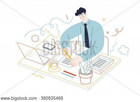 Business Topics - Tasks. Flat Style Modern Outlined Vector Concept Illustration. A Young Man Wearing