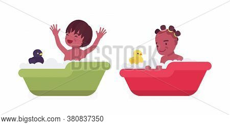 Toddler Children, Black Little Boy And Girl Enjoying Bath Time With Rubber Duck, Getting Clean In Fo